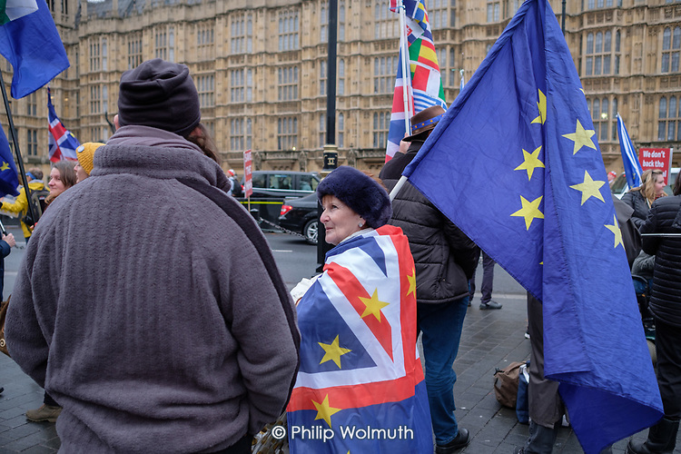 Anti-Brexit protesters demonstrate outside the Houses of Parliament as MPs debate the government's Brexit deal, Westminster, London.