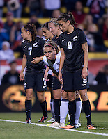 Ali Riley, Lauren Holiday, Amber Hearn. The USWNT tied New Zealand, 1-1, at an international friendly at Crew Stadium in Columbus, OH.