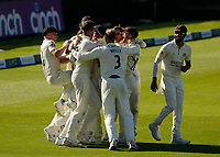 30th May 2021; Emirates Old Trafford, Manchester, Lancashire, England; County Championship Cricket, Lancashire versus Yorkshire, Day 4; Elation for the Lancashire players as the last Yorkshire wicket falls for 271 and the Red Rose claims victory by an innings and 79 runs
