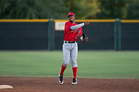 AZL Angels second baseman Jose Verrier (4) throws to first base during an Arizona League game against the AZL Giants Black at the San Francisco Giants Training Complex on July 1, 2018 in Scottsdale, Arizona. The AZL Giants Black defeated the AZL Angels by a score of 4-2. (Zachary Lucy/Four Seam Images)