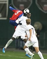 Jozy Altidore #17 of the USA goes up for a header with Denis Marshall #5 of Costa Rica during a 2010 World Cup qualifying match in the CONCACAF region at RFK Stadium on October 14 2009, in Washington D.C.The match ended in a 2-2 tie.