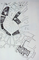 Siena:  Plan of Piazza Del Campo and Cathedral Square.  E.A. Gutkind, IV,  p. 102.  Reference only.