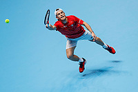 18th November 2020, O2, London, England; Diego Schwartzman of Argentina hits a return during the singles group match against Alexander Zverev of Germany at the ATP  finals in London