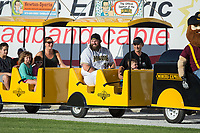 Chase McDonald (34) of the Sussex County Miners rides the train around the warning track prior to the game against the New Jersey Jackals at Skylands Stadium on July 29, 2017 in Augusta, New Jersey.  The Miners defeated the Jackals 7-0.  (Brian Westerholt/Four Seam Images)
