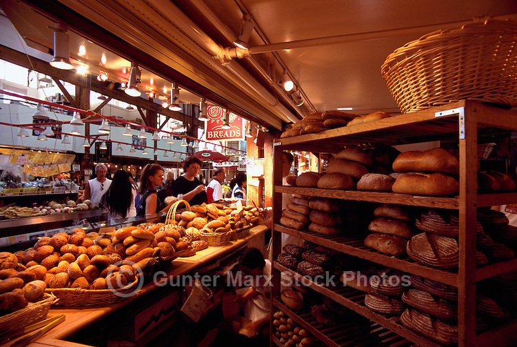 Granville Island Public Market, Vancouver, BC, British Columbia, Canada - Fresh Baked Bread Loaves, Buns and Rolls for Sale at Bakery / Baker's Stall