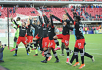 WASHINGTON, DC - MARCH 07: D.C. United celebrating the victory with fans during a game between Inter Miami CF and D.C. United at Audi Field on March 07, 2020 in Washington, DC.