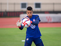 HOUSTON, TX - JUNE 8: Adrianna Franch #21 of the USWNT catches the ball during a training session at the University of Houston on June 8, 2021 in Houston, Texas.