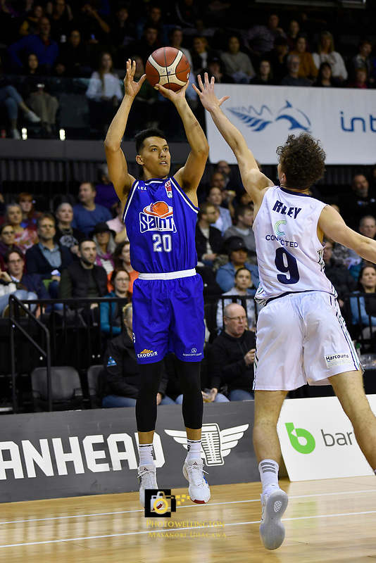 Kenneth Tuffin of the Wellington Saints shoots the ball during the NBL match between the Wellington Saints and the Auckland Huskies at TSB Bank Arena, Wellington, New Zealand on Friday 28 May 2021.<br /> Photo by Masanori Udagawa. <br /> www.photowellington.photoshelter.com