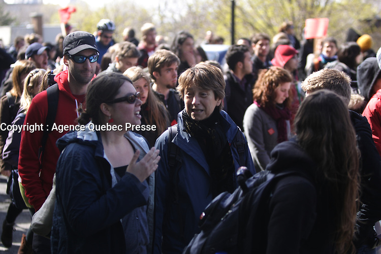 Montreal (QC) CANADA - April 17 2012 - Quebec students on strike againt tuition fee increase march in Montreal - Francoise David