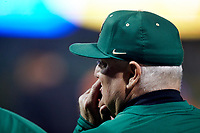 Charlotte 49ers head coach Loren Hibbs watches the action from the dugout during the game against the Clemson Tigers at BB&T BallPark on March 26, 2019 in Charlotte, North Carolina. The Tigers defeated the 49ers 8-5. (Brian Westerholt/Four Seam Images)
