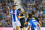 Atletico de Madrid's Kevin Gameiro and Club Deportivo Leganes's Victor Diaz during the match of La Liga between Club Deportivo Leganes and Atletico de Madrid at Butarque Estadium in Leganes. August 27, 2016. (ALTERPHOTOS/Rodrigo Jimenez)