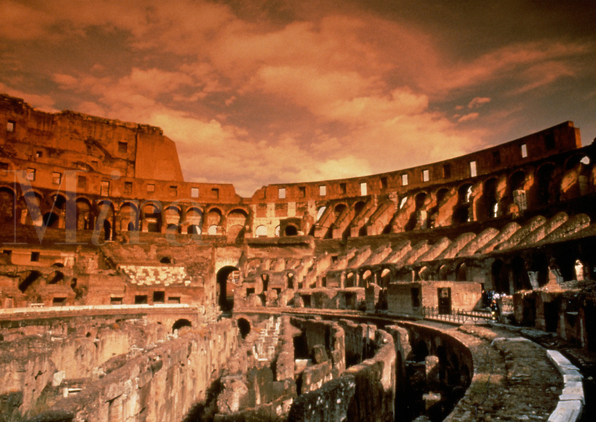 The ruins of the Roman Colosseum. Rome, Italy.