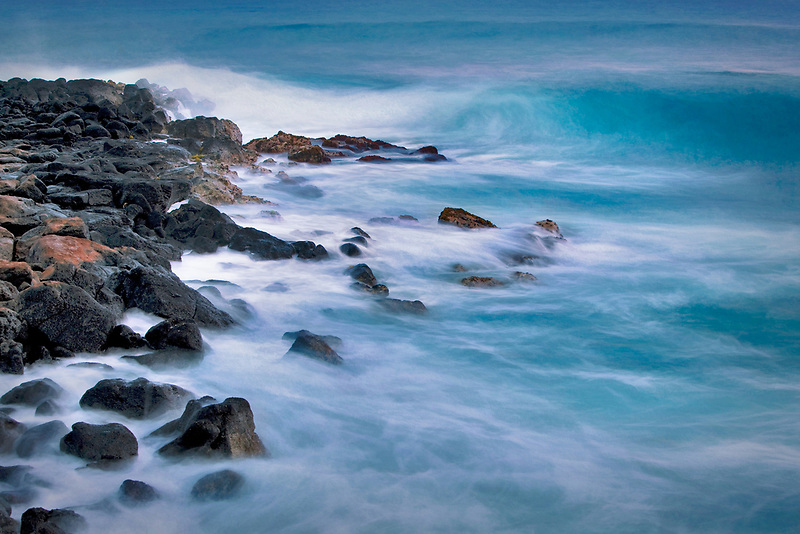 Waves of coastline at Poipu. Kauai, Hawaii.