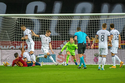 17th November 2020;  Estadio La Cartuja de Sevilla, Seville, Spain; UEFA Nations League Football, Spain versus Germany;  Ferran Torres (esp) brought down on the edge of the box by Matthias Ginter (ger) watched by Manuel Neuer (ger)