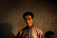 CHINA.Wuzhen. A model waxwork in the tourist centre in Wuzhen. The town of Wuzhen is located in the center of the six ancient towns south of Yangtze River, 10 miles north of the city of Tongxiang, Wuzhen displays a two-thousand-year history in its ancient stone bridges, stone pathways between the mottled walls and its delicate wood carvings all lying above a network of canals and small lakes. 2008
