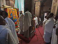 morning prayer in Coptic Orthodox church Bet Medhane Alem in Lalibela Ethiopia