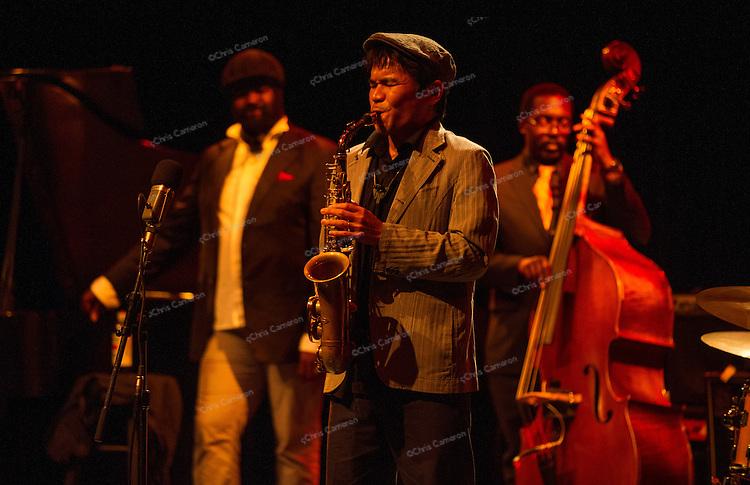 Yosuke Sato w Gregory Porter and Aaron Jones play Performance Works June 24, 2013 in the Vancouver International Jazz Festival