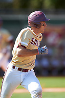 Boston College Eagles shortstop Johnny Adams (8) runs to first base during a game against the Central Michigan Chippewas on March 3, 2017 at North Charlotte Regional Park in Port Charlotte, Florida.  Boston College defeated Central Michigan 5-4.  (Mike Janes/Four Seam Images)