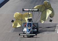 Feb. 23, 2013; Chandler, AZ, USA; NHRA top fuel dragster driver Brittany Force during qualifying for the Arizona Nationals at Firebird International Raceway. Mandatory Credit: Mark J. Rebilas-