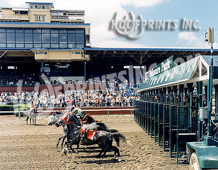 leaving the gate with crowd in the background at Delaware Park on 5/26/97
