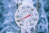 Minus 40 degrees F temperature gauge in Fairbanks, Alaska