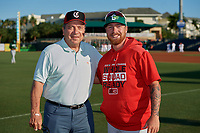 Daytona Tortugas pitcher Ryan Lillie (right) poses for a photo with Hall of Fame catcher Johnny Bench before a Florida State League game against the Palm Beach Cardinals on April 11, 2019 at Roger Dean Stadium in Jupiter, Florida.  Palm Beach defeated Daytona 6-0.  (Mike Janes/Four Seam Images)