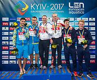 ZAKHAROV Ilia, KUZNETSOV Evgenii RUS Gold Medal<br /> KVASHA Illya, KOLODIY Oleg UKR Silver Medal<br /> WOODWARD Frederick, HEATLY James GBR Bronze Medal<br /> 3m Synchronised Men Final<br /> LEN European Diving Championships 2017<br /> Sport Center LIKO, Kiev UKR<br /> Jun 12 - 18, 2017<br /> Day06 17-06-2017<br /> Photo © Giorgio Scala/Deepbluemedia/Insidefoto