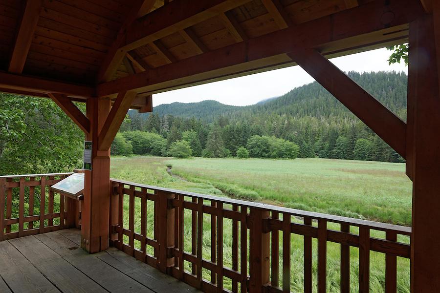 Raised wildlife viewing platform, Starrigavan Recreation Area, Sitka, Alaska, USA