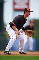 GCL Orioles third baseman Frank Crinella (9) during the first game of a doubleheader against the GCL Rays on August 1, 2015 at the Ed Smith Stadium in Sarasota, Florida.  GCL Orioles defeated the GCL Rays 2-0.  (Mike Janes/Four Seam Images)