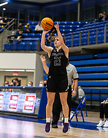 Allison Byars (21) of Fayetteville takes 3 point shot against Rogers at King Arena, Rogers, AR January 8, 2021 / Special to NWA Democrat-Gazette/ David Beach