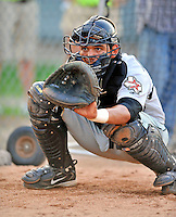 3 September 2008: Tri-City Valley Cats catcher Jason Castro warms up his pitcher prior to a NY Penn-League game against the Vermont Lake Monsters at Centennial Field in Burlington, Vermont. The Lake Monsters defeated the Valley Cats 6-5 in extra innings. Mandatory Photo Credit: Ed Wolfstein Photo