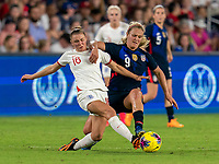 ORLANDO, FL - MARCH 05: Georgia Stanway #16 of England is fouled by Lindsey Horan #9 of the United States during a game between England and USWNT at Exploria Stadium on March 05, 2020 in Orlando, Florida.