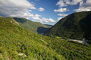 Franconia Notch State Park from Eagle Cliff in the White Mountains, New Hampshire during the summer months.