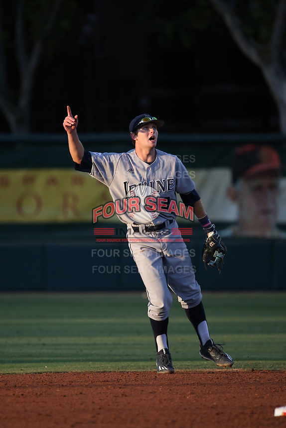 Cole Kreuter (2) of the UC Irvine Anteaters in the field against the Southern California Trojans at Dedeaux Field on April 18, 2017 in Los Angeles, California. UC Irvine defeated Southern California, 14-3. (Larry Goren/Four Seam Images)