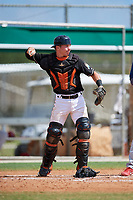 GCL Marlins catcher Keegan Fish (6) throws back to the pitcher during a game against the GCL Cardinals on August 4, 2018 at Roger Dean Chevrolet Stadium in Jupiter, Florida.  GCL Marlins defeated GCL Cardinals 6-3.  (Mike Janes/Four Seam Images)