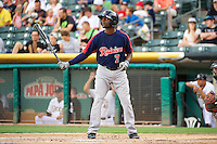 Xavier Avery (7) of the Tacoma Rainiers at bat against the Salt Lake Bees in Pacific Coast League action at Smith's Ballpark on July 9, 2014 in Salt Lake City, Utah.  (Stephen Smith/Four Seam Images)