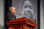 January 21, 2019; Notre Dame President Rev. John I. Jenkins, C.S.C. speaks at the 2019 Martin Luther King Jr. Celebration Luncheon. (Photo by Matt Cashore/University of Notre Dame)