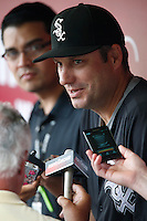 Chicago White Sox Manager Robin Ventura #23 before a game against the Los Angeles Angels at Angel Stadium on September 22, 2012 in Anaheim, California. Los Angeles defeated Chicago 4-2. (Larry Goren/Four Seam Images)