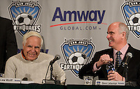 Steve Lieberman, Managing Director of Amway Global, and Lew Wolff, San Jose Earthquakes Owner. .The San Jose Earthquakes and Amway Global announced a historic three-year partnership agreement today that will include Amway GlobalÕs name on the front of the Earthquakes jerseys beginning in 2009. The partnership also features a number of in-stadium, community and grassroots components that will provide greater visibility for both the Earthquakes and Amway Global.