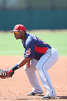 Jesus Aguilar #33 of the Cleveland Indians during a Minor League Spring Training Game against the Cincinnati Reds at the Cincinnati Reds Spring Training Complex on March 25, 2014 in Goodyear, Arizona. (Larry Goren/Four Seam Images)