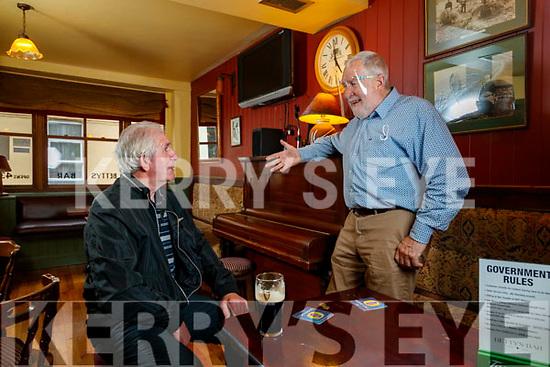 Mike Lynch, Causeway enjoying a pint in Bettys Bar chatting to Sean Fuller proprietor