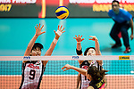 Middle blocker Haruyo Shimamura of Japan (L) blocks Opposite spiker Xiangyu Gong of China (R) during the FIVB Volleyball World Grand Prix match between China vs Japan on July 21, 2017 in Hong Kong, China. Photo by Marcio Rodrigo Machado / Power Sport Images