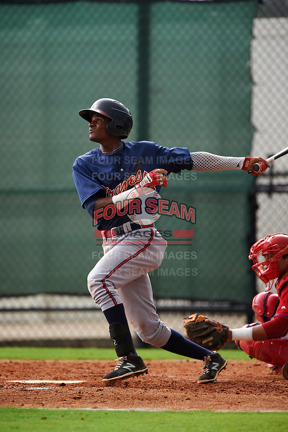 GCL Braves third baseman Alex Aquino (1) at bat during a game against the GCL Phillies on August 3, 2016 at the Carpenter Complex in Clearwater, Florida.  GCL Phillies defeated GCL Braves 4-3 in a rain shortened six inning game.  (Mike Janes/Four Seam Images)