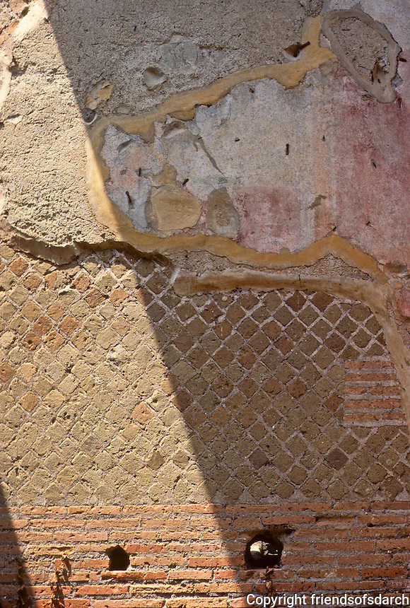 Italy: Ostia--Wall textures: Roman brick, opus reticulatum, and plaster. Photo '83.