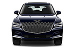 Car photography straight front view of a 2021 Genesis GV80 Advanced 5 Door SUV Front View