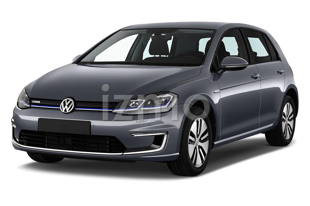 2017 Volkswagen Golf e 5 Door Hatchback Angular Front stock photos of front three quarter view