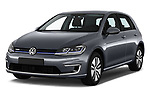 2017 Volkswagen Golf e 5 Door Hatchback Angular Front stock photos of front three quarter view