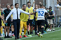 Federico Dimarco of FC Internazionale celebrates with Simone Inzaghi coach of FC Internazionale after scoring the goal of 0-1 during the Serie A football match between UC Sampdoria and FC Internazionale at stadio Marassi in Genova (Italy), September 12th, 2021. Photo Image Sport / Insidefoto