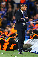 Slavisa Jokanovic (Coach) of Maccabi Tel-Aviv looks dejected as his team trail 4-0 during the UEFA Champions League match between Chelsea and Maccabi Tel Aviv at Stamford Bridge, London, England on 16 September 2015. Photo by David Horn.