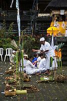 Jatiluwih, Bali, Indonesia.  A Priest Sprinkles Holy Water on Worshipers at the  Luhur Bhujangga Waisnawa Hindu Temple.